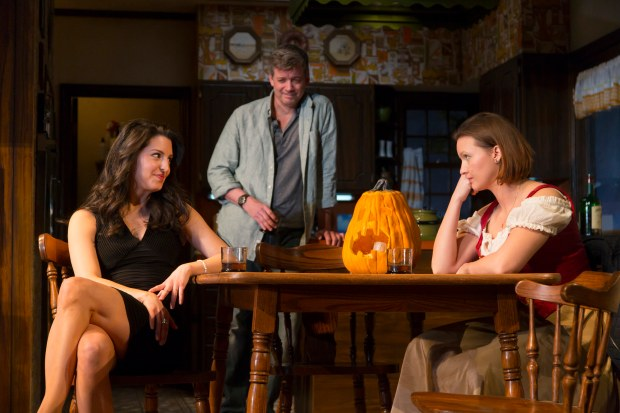 "Meredith Forlenza, Chris Henry Coffey, and Tanya Fischer in the Huntington Theatre Company's production of ""Can You Forgive Her?"", written by Gina Gionfriddo and directed by Peter DuBois, playing March 25 – April 24, 2016, Calderwood Pavilion at the BCA. Photo: T. Charles Erickson."