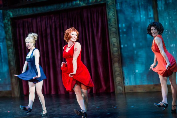 "Maria LaRossa, Vanessa Dunleavy, and Christine A. Maglione in ""Sweet Charity."" Nile Hawver/Nile Scott Shots"