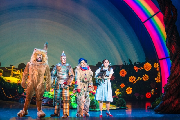 "Aaron Fried as Lion,  Jay McGill as Tin Man,  Morgan Reynolds as Scarecrow and  Sarah Lasko as Dorothy in ""We're Off to Meet the Wizard."" Photography copyright Daniela Swalec"