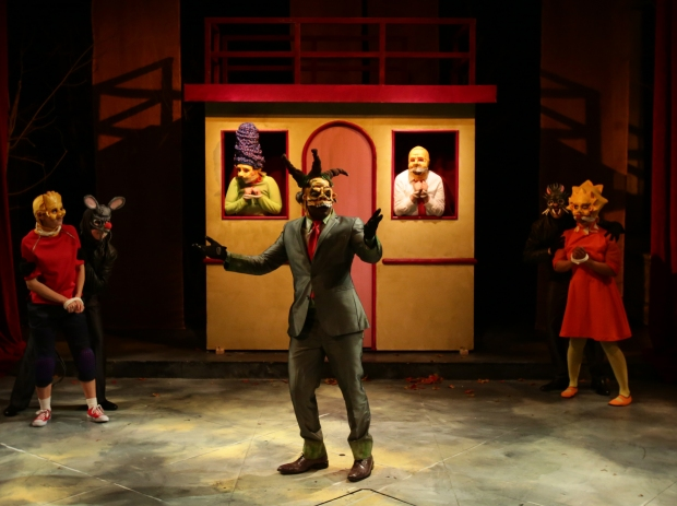 "The cast of ""Mr. Burns,a Post-Electric Play"" at the Lyric Stage Company. Photo: Mark S. Howard"