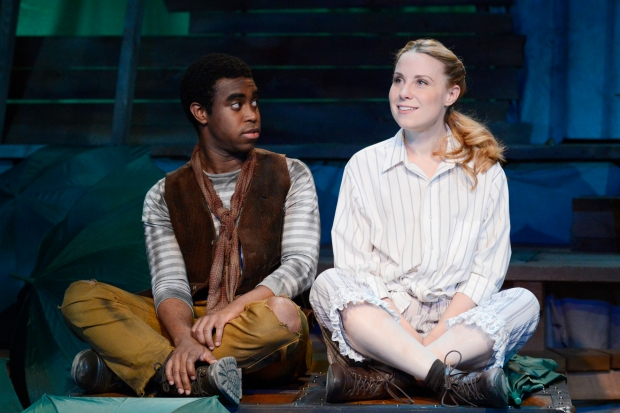 "Marc Pierre and Erica Spyres in ""Peter and the Starcatcher."" Photo: Glenn Perry"