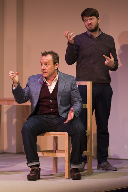 "Steven Goldstein and Joey Caverly in ""I Was Most Alive with You"" at the Huntington Theatre Company; photo: T. Charles Erickson"