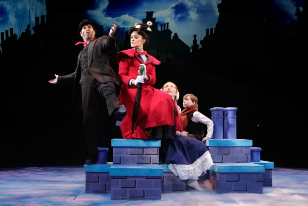 Brad Bradley (Bert) and Kerry Conte (Mary Poppins) with Scarlett Keene-Connole (Jane Banks) and Jake Ryan Flynn (Michael Banks) in North Shore Music Theatre's production of MARY POPPINS playing July 12 - July 31, 2016. Photo © Paul Lyden.