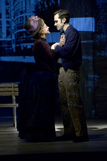 """Jenni Barber and Adam Chanler-Berat in """"Sunday in the Park with George"""" at the BU Theatre through October 16, 2016. Photo: Paul Marotta."""