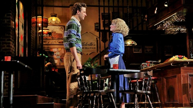 "Grayson Powell, Jillian Louis in ""Cheers Live on Stage"" at the Citi Shubert Theatre. Photo by John Halbach."