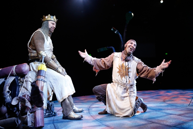 Al Bundonis (King Arthur) and Brad Bradley (Patsy) in North Shore Music Theatre's production of Monty Python's SPAMALOT playing thru October 9. Photo © Paul Lyden.