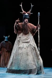 Jonathan Gregg (Knight who Says Ni) in North Shore Music Theatre's production of Monty Python's SPAMALOT playing thru October 9. Photo © Paul Lyden.