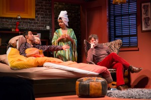 Nael Nacer, Mahira Kakkar, and Karl Miller in the Huntington Theatre Company's production of Bedroom Farce, directed by Maria Aitken, playing November 11 - December 11, 2016, Avenue of the Arts/BU Theatre. © Photo: T. Charles Erickson.