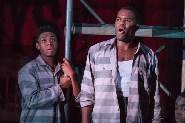 "Wakeen Jones and De'Lon Grant in ""The Scottsboro Boys."" Photos by Nile Hawver / Nile Scott Shots."