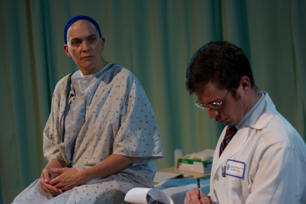 "Liz Adams as Vivian and Tim Hoover as Dr. Posner in ""Wit."" Photo by Alex Aroyan"
