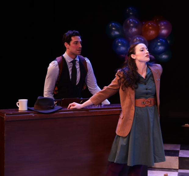 "Jared Troilo, Kirsten Salpini in Lyric Stage's ""Murder for Two.""  Photo by Mark S. Howard"