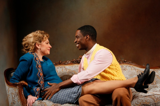 Andrea Syglowski and Sekou Laidlow in the Huntington Theatre Company's production of A Doll's House, directed by Melia Bensussen, playing January 6 - February 5, 2017, Avenue of the Arts/BU Theatre. © Photo: T. Charles Erickson.