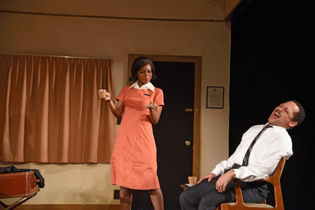 "From left to right: Mia Ellis as Camae and Joe Wilson, Jr. as Dr. Martin Luther King, Jr. in Katori Hall's The Mountaintop."" Photo Mark Turek."
