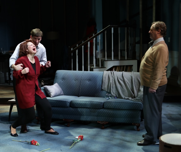 "Dan Whelton, Paula Plum and Steven Barkimer in ""Who's Afraid of Virginia  Woolf?"" Photo: Mark S. Howard"