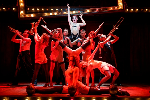 "Randy Harrison as The Emcee and the national touring cast of Roundabout Theatre Company's ""Cabaret."" Photo: Joan Marcus"