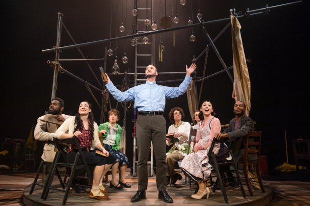 """Nick Sulfaro, center, and the cast of  Stoneham Theatre's """"Jonah and the Whale."""" Photo: Maggie Hall"""