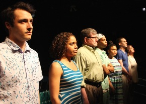 """(L to R):  Johnny Quinones, Victoria George, Robert Bonotto, Jalani Dottin-Coye, Lillian Gomes, Matthew Fagerberg, and Maureen Adduci in """"Exit Strategy."""" Photo by Richard Hall/Silverline Images"""