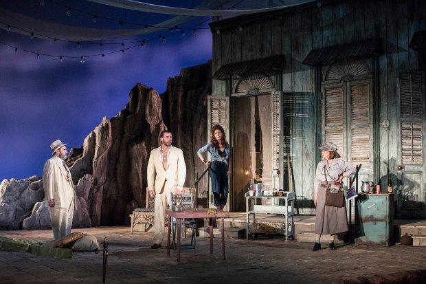"Remo Airaldi (Jake), Bill Heck (Reverend T. Lawrence Shannon), Dana Delany (Maxine Faulk), and Elizabeth Ashley (Judith Fellowes) in ""The Night of the Iguana."" Photo: Gretjen Helene Photography"