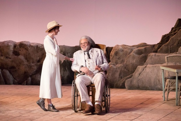 "Amanda Plummer (Hannah Jelkes) and James Earl Jones (Nonno/Jonathan Coffin) in ""The Night of the Iguana."" Photo: Gretjen Helene Photography"
